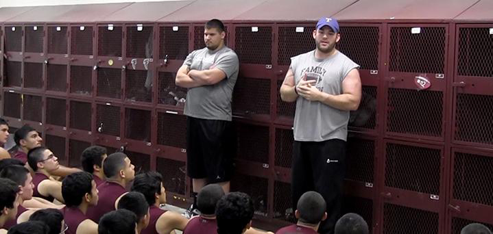 Former LFHS football players Eloy Atkinson and Mario Benavides speak to junior and sophomore players about their experiences as free agents for the NFL. Photo: LFCISD