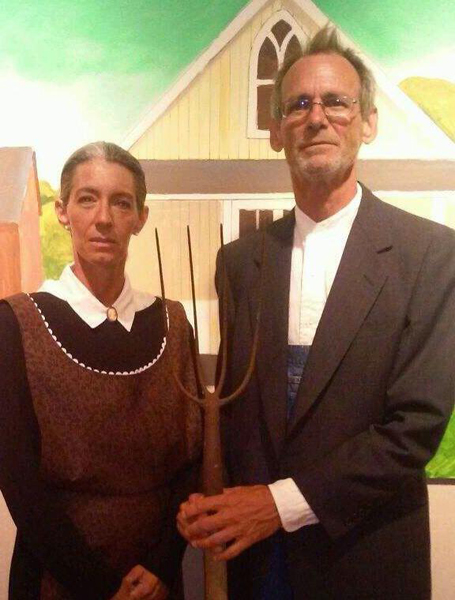 "Anna Sharp and Chris Hardcastle of Harlingen pose as live models for Schaub's recreation of ""American Gothic"""