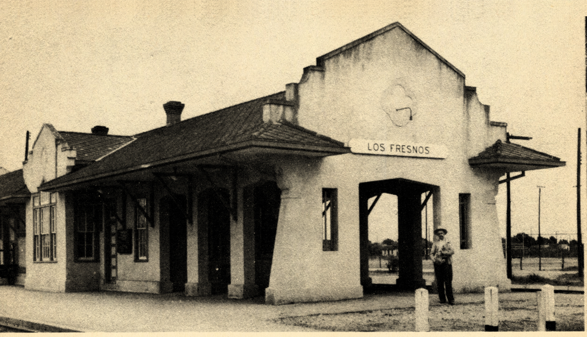 A photo from 1948 of the Los Frenos train station. The station linked Los Fresnos to the rest of the developing Valley in those days. Photo: For We Love Our Valley Home by Miriam Chatelle, 1948.