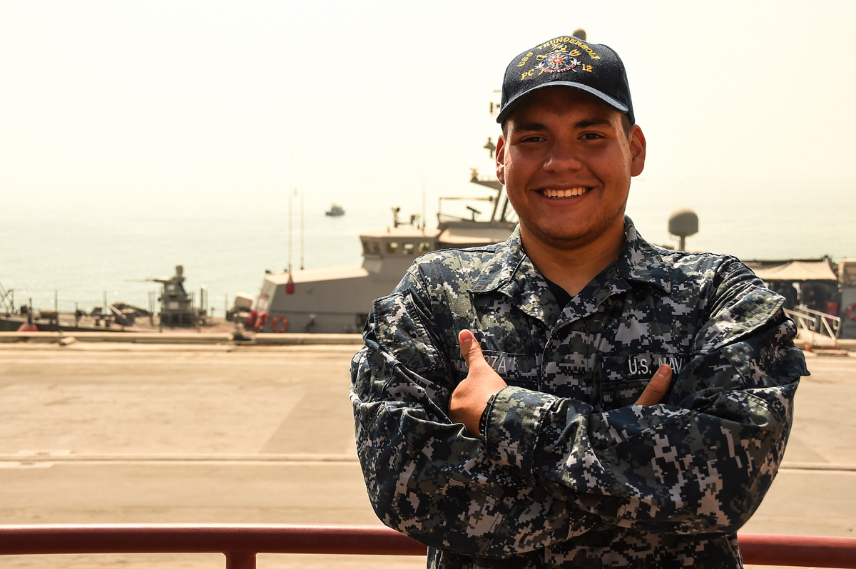 seaman cruz garza quartermaster on the us navy coastal patrol ship uss thunderbolt pc
