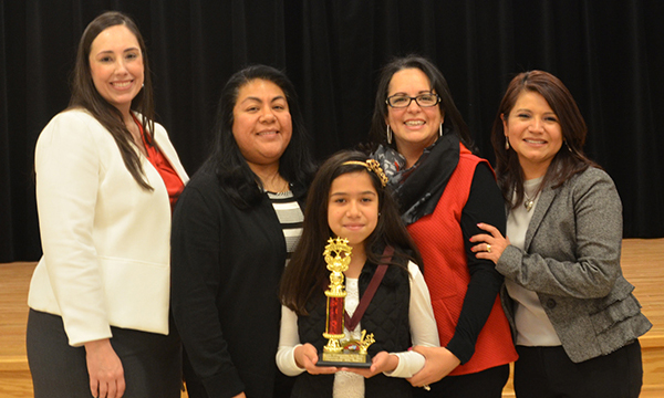 Olmito Elementary's Grecia Benavides won the District Spelling Bee on Saturday, January 28th. Photo: LFCISD