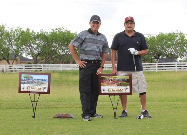 Larry Cantu stands alongside Roger Cisneros of Dallas, Texas. Cisneros was also a sponsor and donor at the Leo Aguilar Memorial Golf Tournament.