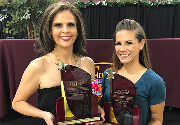 Norma Almanza and Amanda Ellison were named District Teachers of the Year at an awards ceremony held Friday, April 28th. Photo: LFCISD