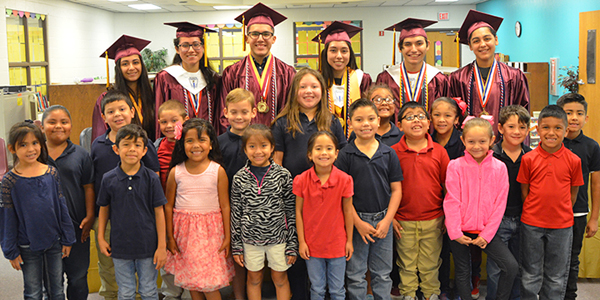 LFHS seniors visiting elementary schools they attended at Graduate Day Wednesday, May 24th. Photo: LFCISD