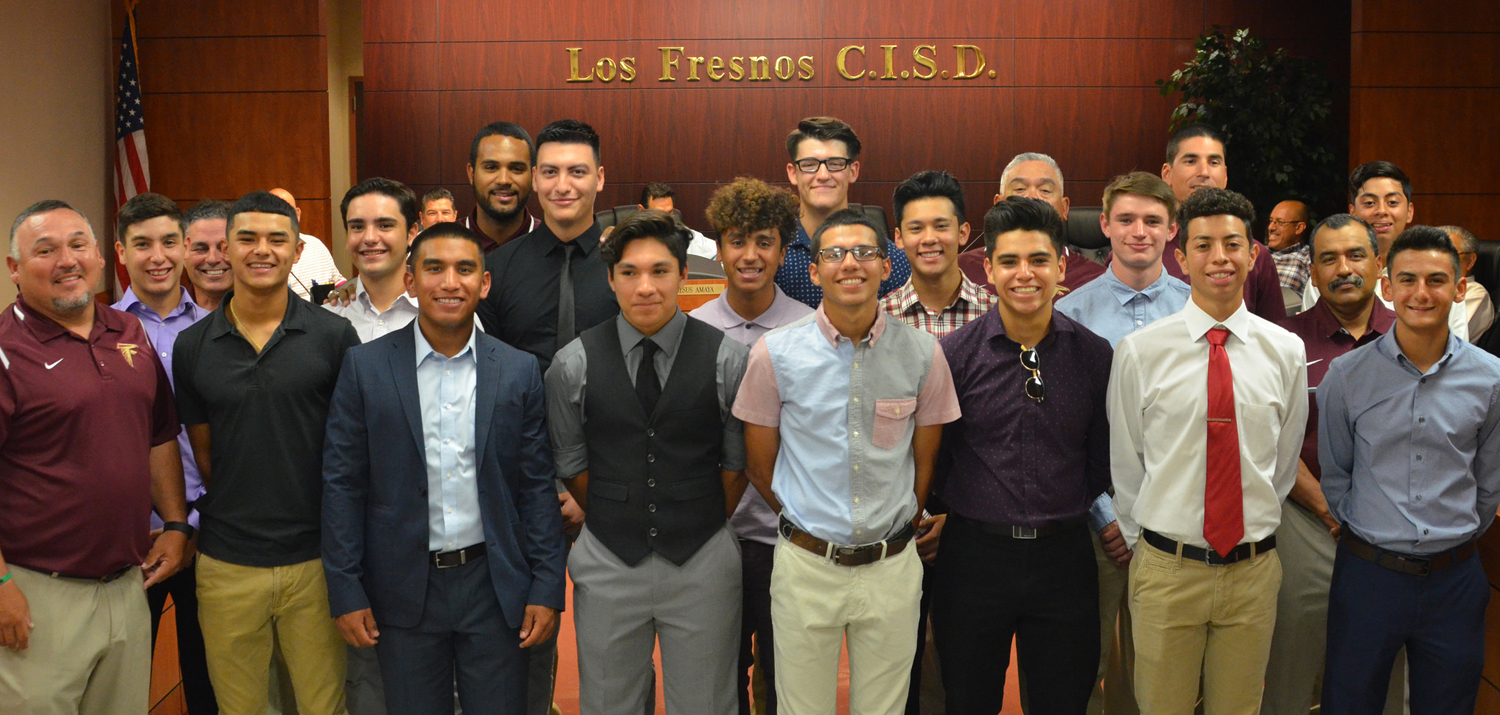 District Champion LFHS Falcon Baseball Team was honored for their acheivements at the last Los Fresnos CISD School Board meeting held on Monday, May 22nd.