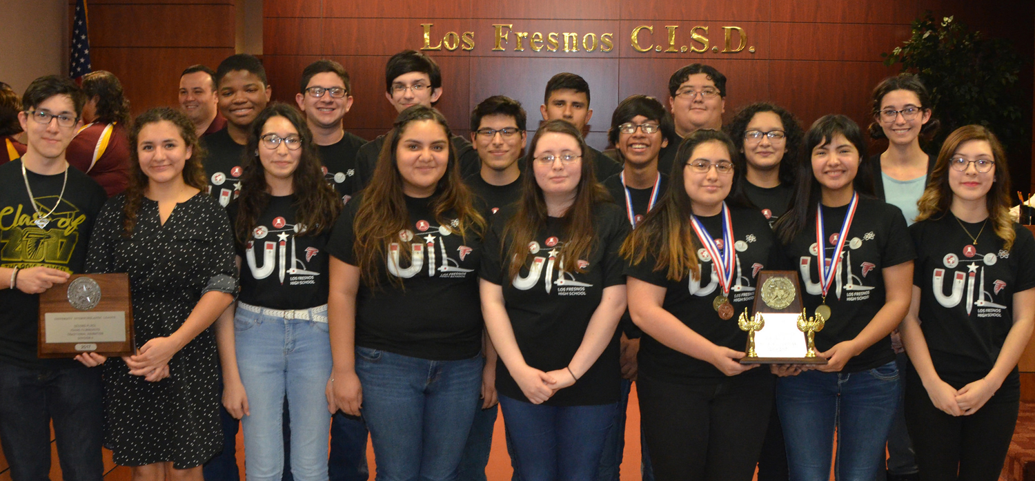 Los Fresnos High School UIL Academics Team was recognized at the special meeting of the LFCISD Board of Trustees last Monday night.