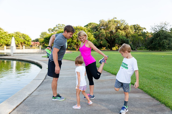 Blogger Caycee Hewitt says new athletic shoes keep the family motivated to move. Photo: © Kim Graham