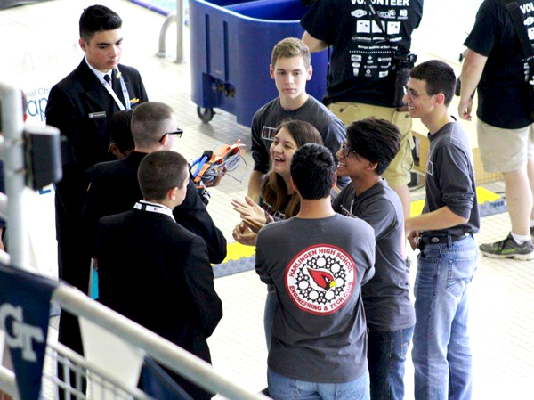 Members of the Harlingen High School Engineering and Tech team, shown here, placed 15th at the National SeaPerch Challenge in Atlanta, Georgia. Photo: Courtesy of Vivian Lopez