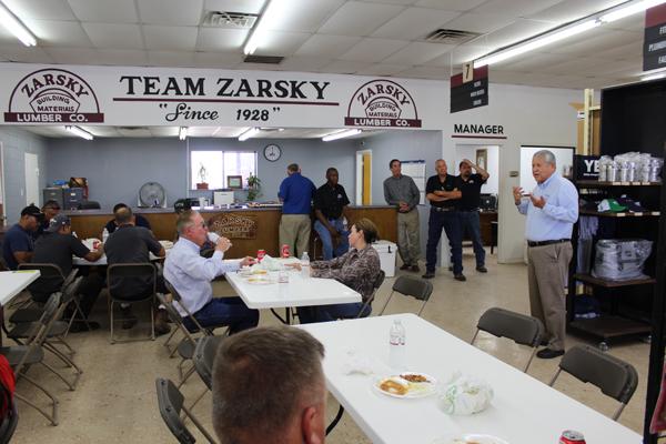 Mayor Polo Narvaez shares a few congratulatory words for Gene Daniels.