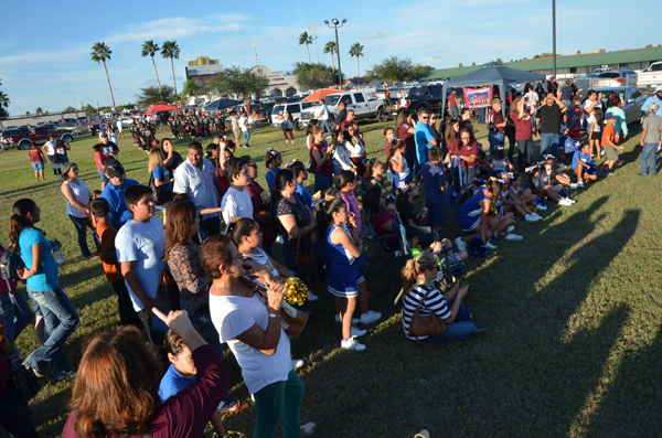 Parents and Falcon Fans gather to enjoy pre-game entertainment provided by the LFHS Band and elementary schools at one of last year's Tailgate Zone gatherings. Photo: LFCISD Archives