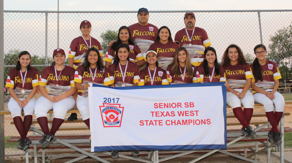 The Team is: Bottom row from left:Idalee Ibarra, Addie Loera, Aixa Araguz, Elizabeth Vasquez, Valerie Guevara, Clarissa Ibarra, Shivani Garcia, Bianca Martinez, and Monica Ortiz; Top row from left: Coach Flory Loera, Tabitha Garcia, Coach Joe Garcia, Ashley Muniz, and Coach Pablo Garcia.
