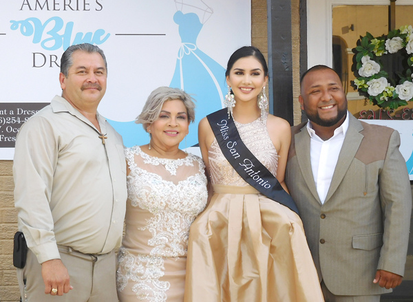Los Fresnos native Pamela Lee Urbina, model and actress, from San Antonio joined her parents Letty and Eliasar Urbina and brother Daniel Juarez in celebrating the grand opening of Amerie's Blue Dress at 315 W. Ocean Boulevard.
