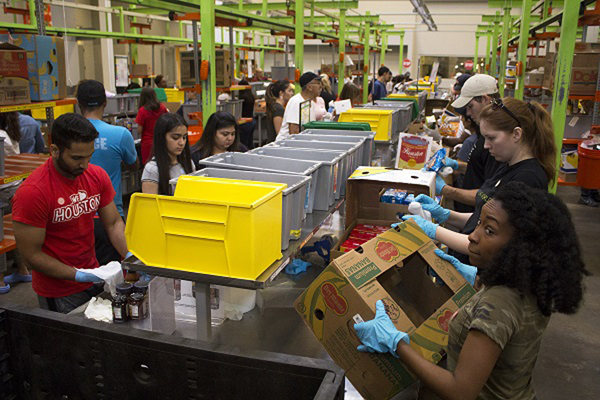 Houston Food Bank officials say their volunteers have processed and distributed more than 1.5 million pounds of food since Hurricane Harvey. Photo: Houston Food Bank