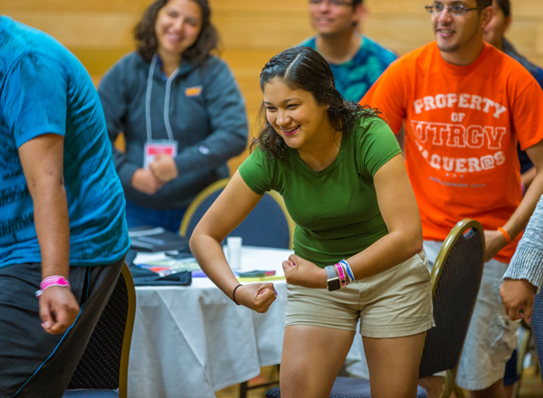UTRGV's student leadership retreats and activities, like the one shown here on June 1, 2017, help prepare students for success by focusing on critical development issues like teamwork and empowerment. Photo: David Pike/UTRGV Archive