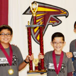 The Robo Scorpions from Olmito Elementary School – Christian Davila, Robert Mora and Sebastian Salcedo – won first place in the Elementary Division of the District Robotics Competition, Saturday, December 16, 2017.  Photo: LFCISD