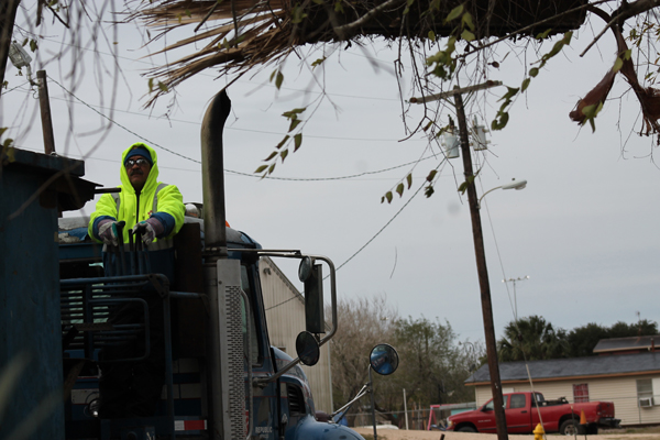 Roy Valdez, an employee with Republic Services, picking up brush this week in Los Fresnos. Photo: Tony Vindell/LFN