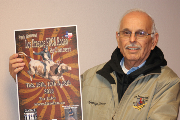 George Gomez, vice chairman with Los Fresnos Rodeo Committee, shows off the new poster. Photo: Tony Vindell/LFN