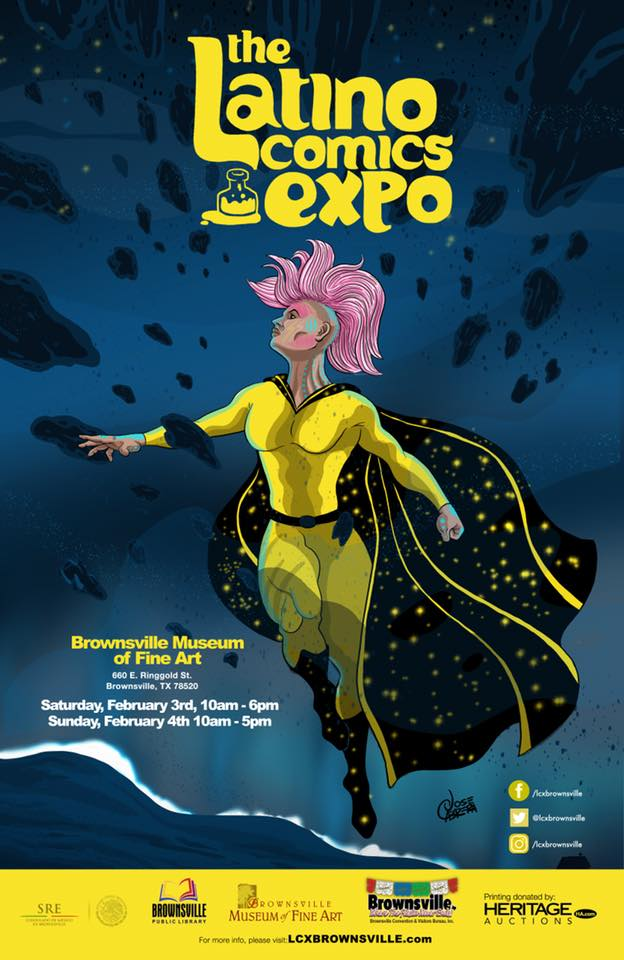 Official poster for the Latino Comics Expo Brownsville by Jose Cabrera