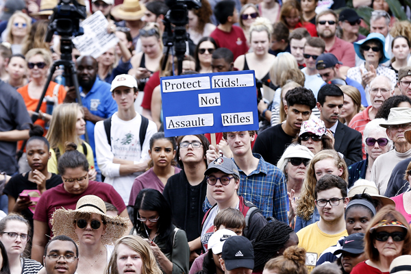 Thousands of students, teachers and parents descended on the Florida State Capitol in protest after a former student with an assault rifle killed 17 students at a school in a shooting rampage. Photo: Moore/GettyImages