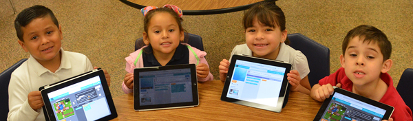 Los Fresnos Elementary Kindergarten students show off their work on coding as Los Fresnos CISD prepares to launch coding labs in Grades K-5. Photo: LFCISD