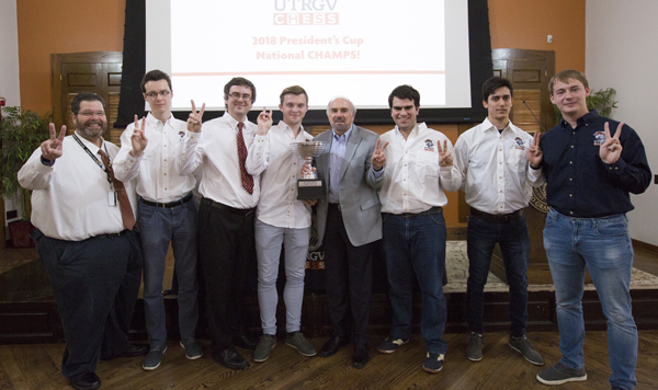 Pictured at center UTRGV President Guy Bailey, posing with the UTRGV Chess Team, who won the annual President's Cup national championship, known as the Final Four of College Chess competition, at the Marshall Chess Club in New York City on April 1. The university celebrated the first ever national championship win for the Chess Team on Friday, April 6, at the Brownsville Campus. The celebration will continue with the Chess Team on the Edinburg Campus at noon on Monday, April 9, at the Visitors Center. Photo: Veronica Gaona/UTRGV