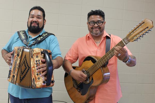 Ruben De La Garza, left, and Pancho Hernandez, playing conjunto music during last week's  concert.