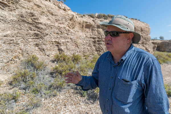 Dr. Juan González, a UTRGV associate professor in the School of Earth, Environmental, and Marine Sciences (SEEMS) and a Quaternary geologist, says there is a puzzling geological formation about 27 million years old called the Catahoula Formation in Starr County. The deposit is clay now, but it originated from volcanic ash. The riddle for geologists is, if there are no volcanoes near Starr County, where did this 66-foot deep deposit of volcanic ash come from? Capping the volcanic ash formation is the Goliad Formation, dated at 5 million to 7 million years old. González and associates now are trying to find out what happened to the 20 million years of history between the two formations. Photo: David Pike/UTRGV