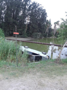 Car that plunged in a resaca in Los Fresnos a week ago Sunday. Courtesy photo.