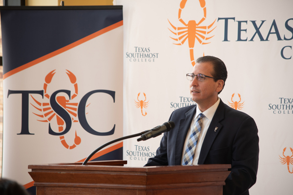 Texas Southmost College (TSC) President Jesús Roberto Rodríguez, Ph.D. speaks during a press conference on June 7, 2018 announcing the launch of TSC's new Industrial Scaffolding program at the TSC Performing Arts Center in Brownsville, Texas.