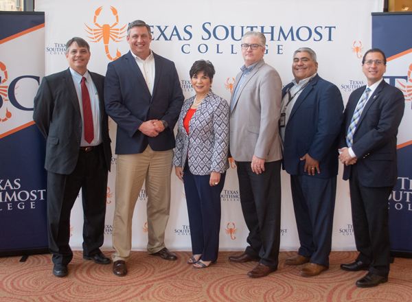 Texas Southmost College (TSC) announced the launch of an Industrial Scaffolding program on June 7, 2018 at the TSC Performing Arts Center in Brownsville, Texas. From left, TSC Associate Vice President of Instruction & Workforce Development, Partner Industrial representative Brian Wedemeyer, TSC Board of Trustees Chair Adela G. Garza, Excel Modular Scaffolding representative Mark Sammis, Workforce Solutions Cameron Regional Director Henry Castillo, TSC President Jesús Roberto Rodríguez, Ph.D.